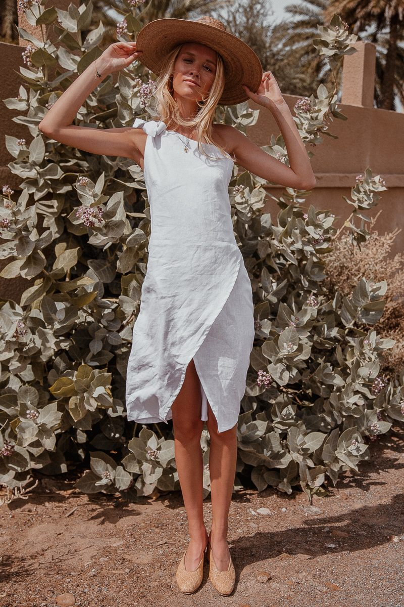 Bella One Shoulder White Linen Midi Dress by Palm Collective the label ethical fashion label 6