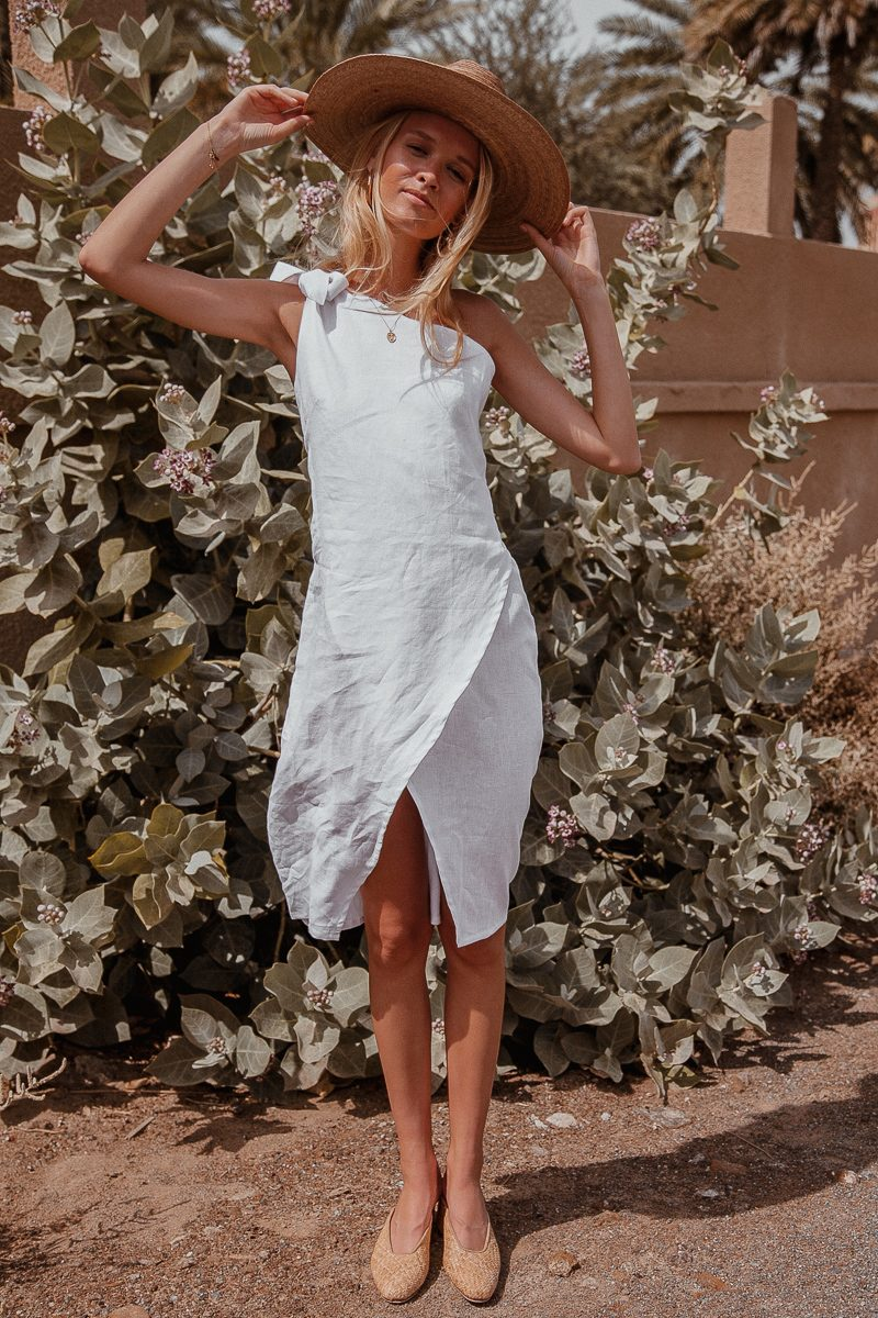 Bella One Shoulder White Linen Midi Dress by Palm Collective the label ethical fashion label 10
