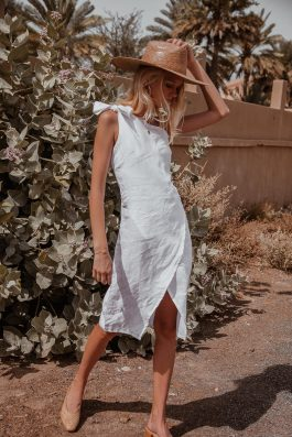 Bella One Shoulder White Linen Midi Dress by Palm Collective the label ethical fashion label. 8