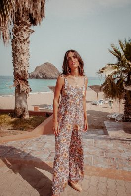 Leopard Bohemian Print Jumpsuit Floral Long by Palm Collective