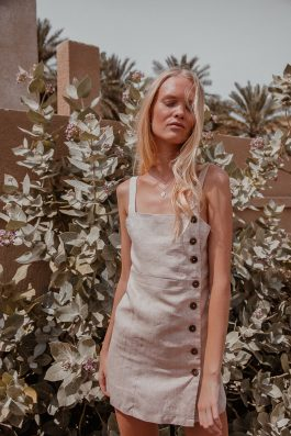 Selma linen strapy summer dress in bone natural linen from palm collective