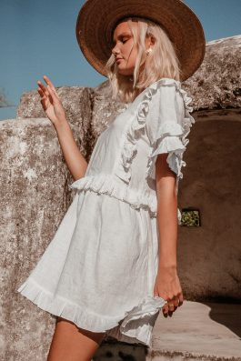 Maybelle White Linen Shift Dress with sleeves prairie style