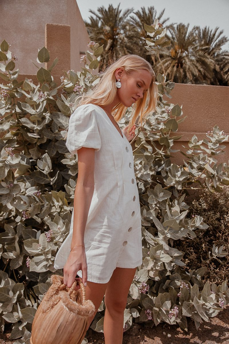 white linen dress shirt length with sleeves by Palm Collective 5