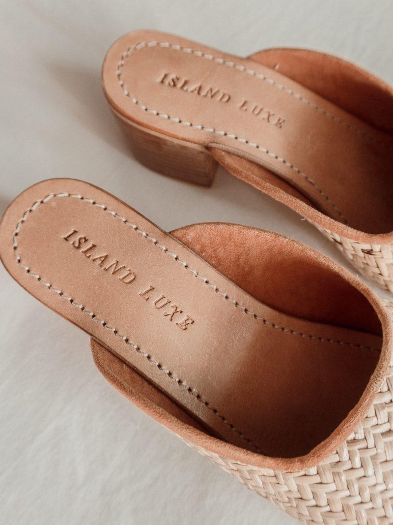 Ladies Rattan woven straw heels mules Island Luxe