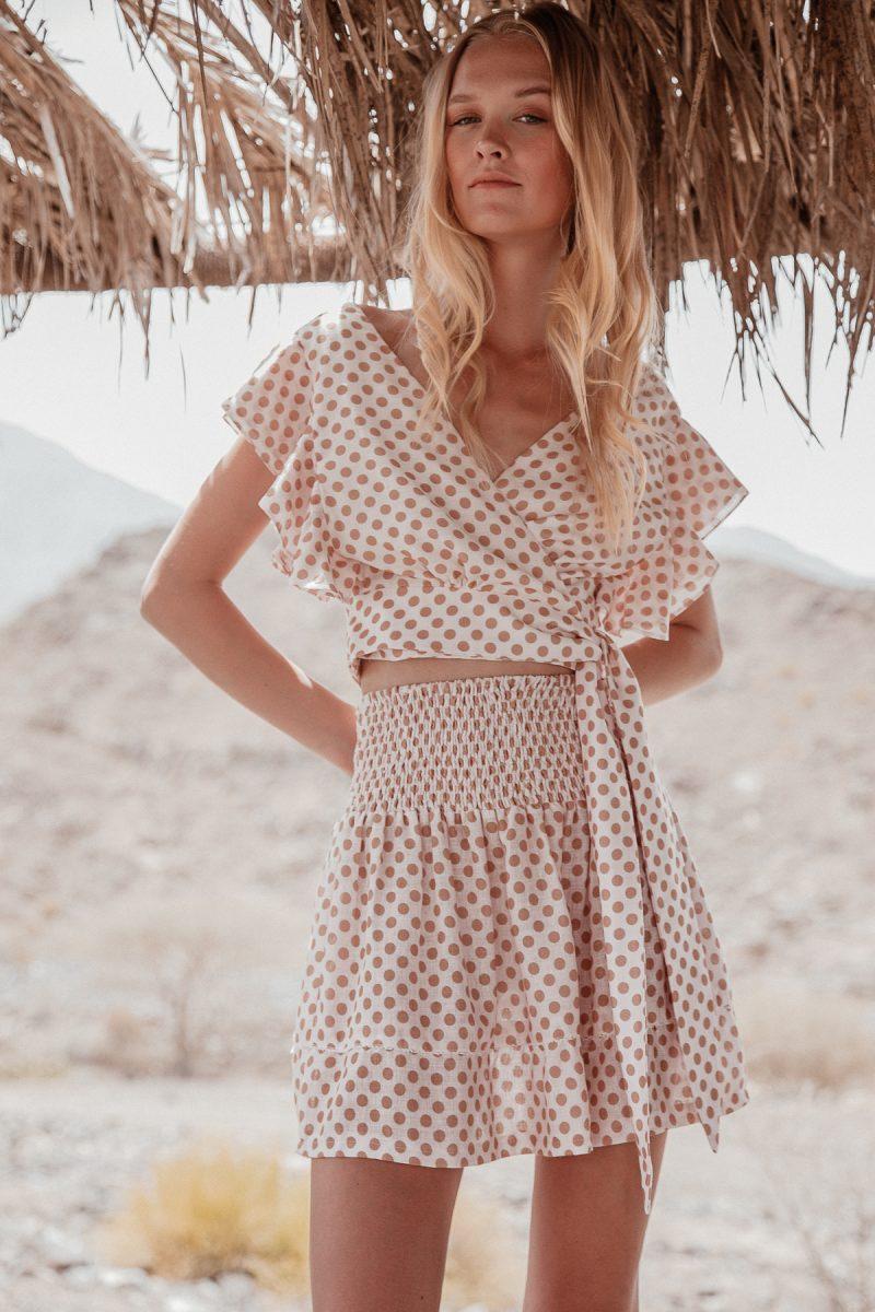Ladies polka dot linen skirt mini skirt by palm collective