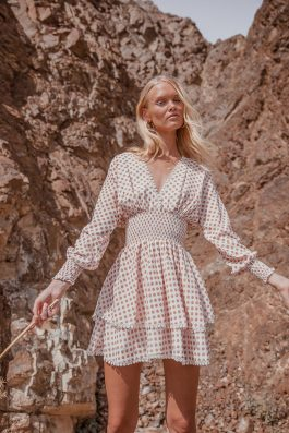 Polka dot linen dress with long sleeves short length mini dress by Palm Collective 3