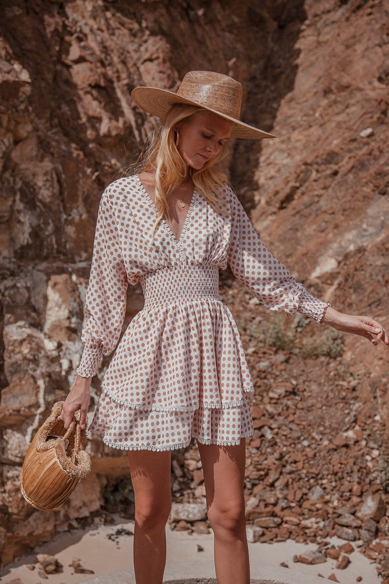 Polka dot linen dress with long sleeves short length mini dress by Palm Collective 4