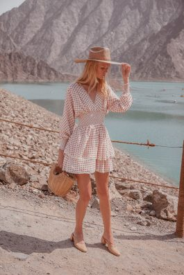 Polka dot linen dress with long sleeves short length mini dress by Palm Collective 6