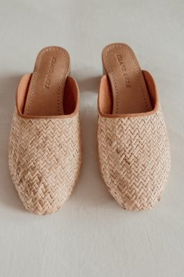 Rattan woven straw heels mules Island Luxe 1