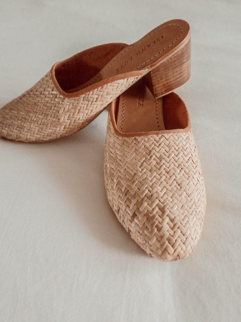 Rattan woven straw heels mules Island Luxe Womens
