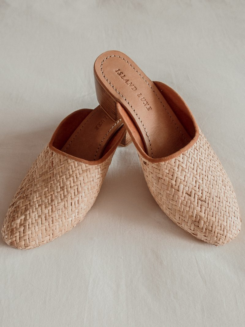 Rattan woven straw heels mules Island Luxe Womens and ladies