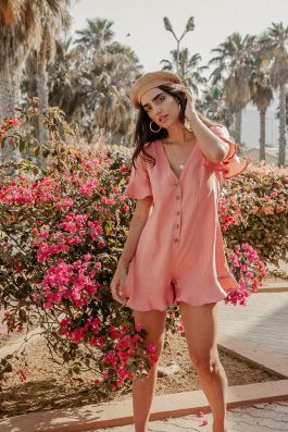 Sustainable Island Linen Jumpsuit Short Playsuit by Palm Collective Loose Fit with sleeves 1