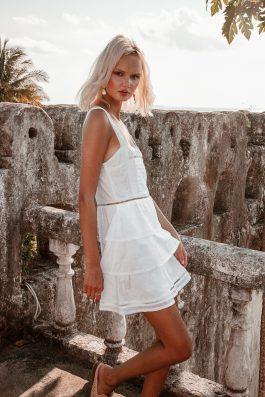 White summer lace dress short length mini by palm collective cotton