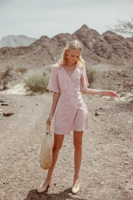 Womens Linen Dress in Pale Pink with Sleeves and button front Sustainable Fashion Label Palm Collective