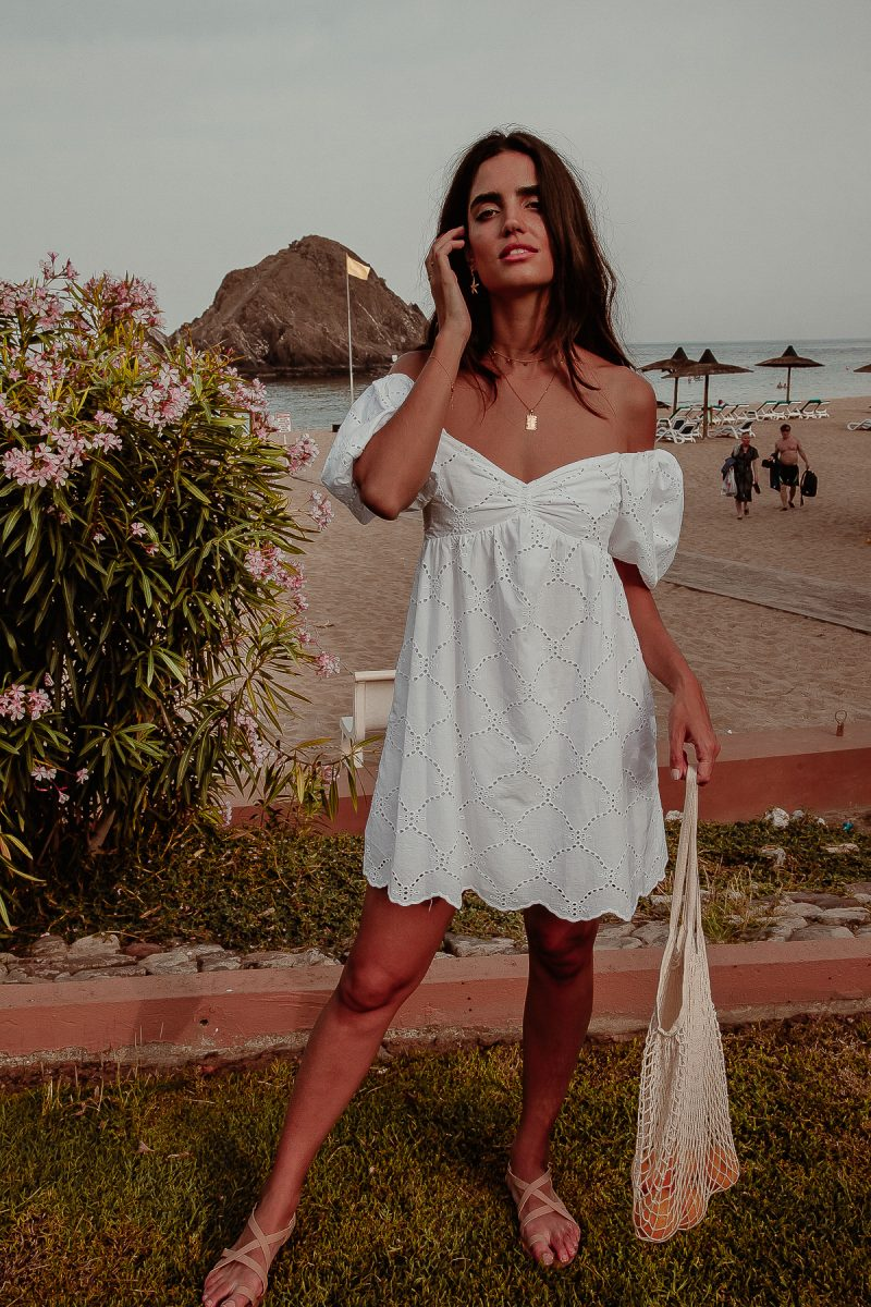 Grande Anse Dress Ladies short white embroidery anglais dress with sleeves