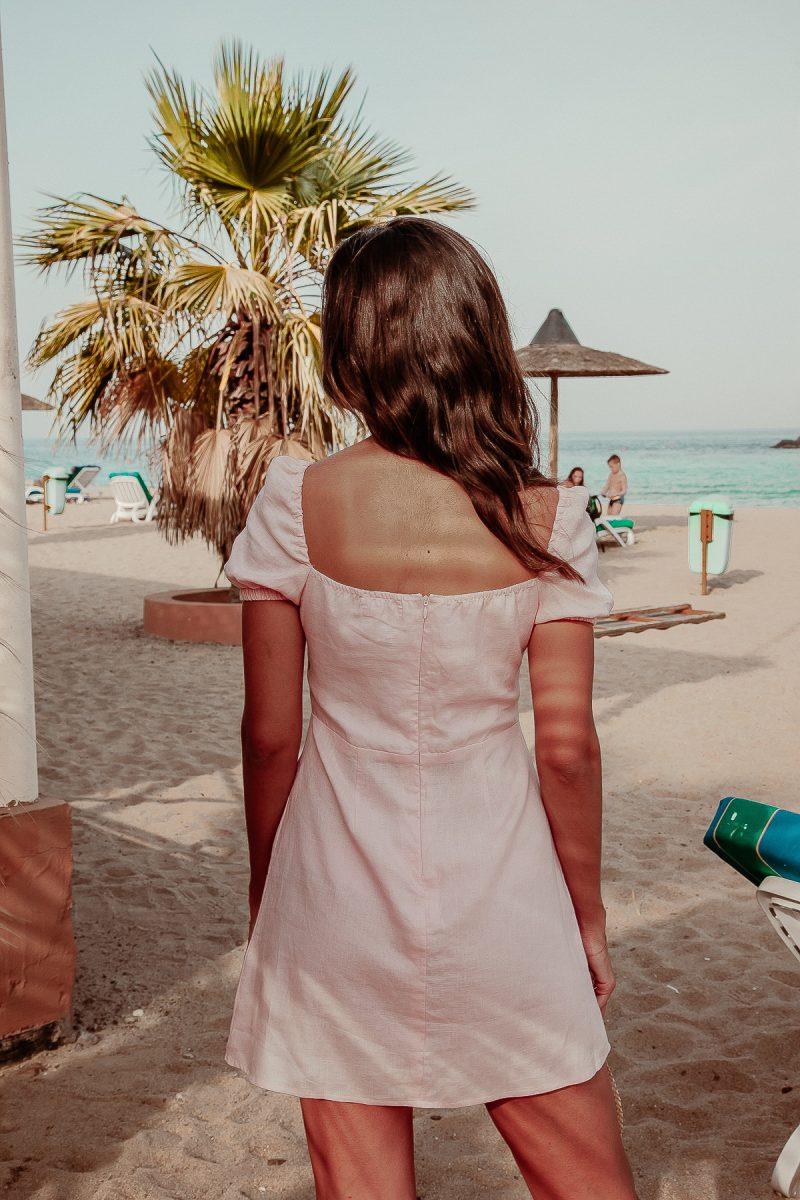 Linen Dress sweet heart neckline short length pale pink by Palm Collective Back Image