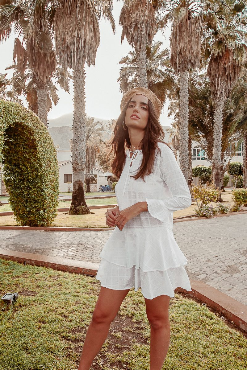 Loretta Ladies White Long Sleeve French Dress with Flounce Detail