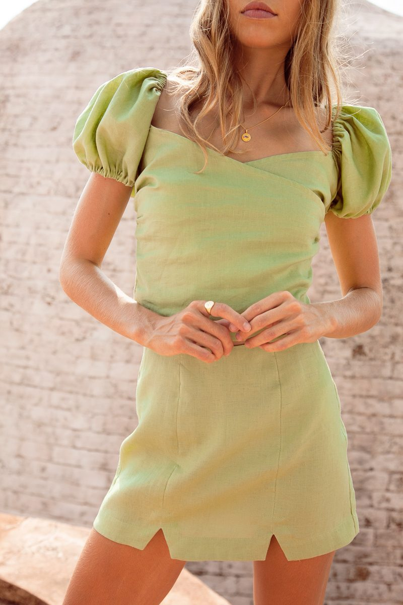 Celine-Top-Green-Linen-Top-with-puff-sleeves-Palm-Collective