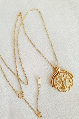 Gold Coin Fine jewellery Greek Gods Pendant small. 6