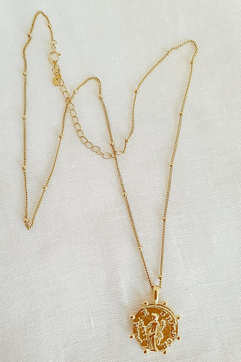 Gold Coin Fine jewellery Greek Gods Pendant small