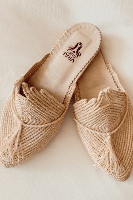 Morrocan Raffia Shoes Slides Flat Slipper Ladies Palm Collective the Label Buy Online Australia