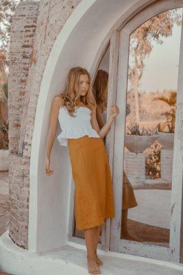 Sachi Linen Midi Skirt Palm Collective 2