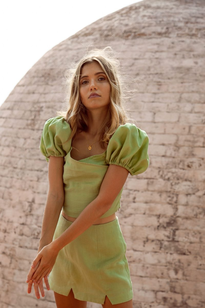 Sustainable-ethical-clothing-labels-Palm-Collective-Wholesale-Buy-Online-Womens-Linen-Clothing-Celine-Top-and-Sienna-Skirt-Australia