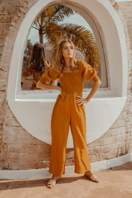 Sustainable linen jumpsuit womens loose fit Zephr Playsuit by Palm Collective 4
