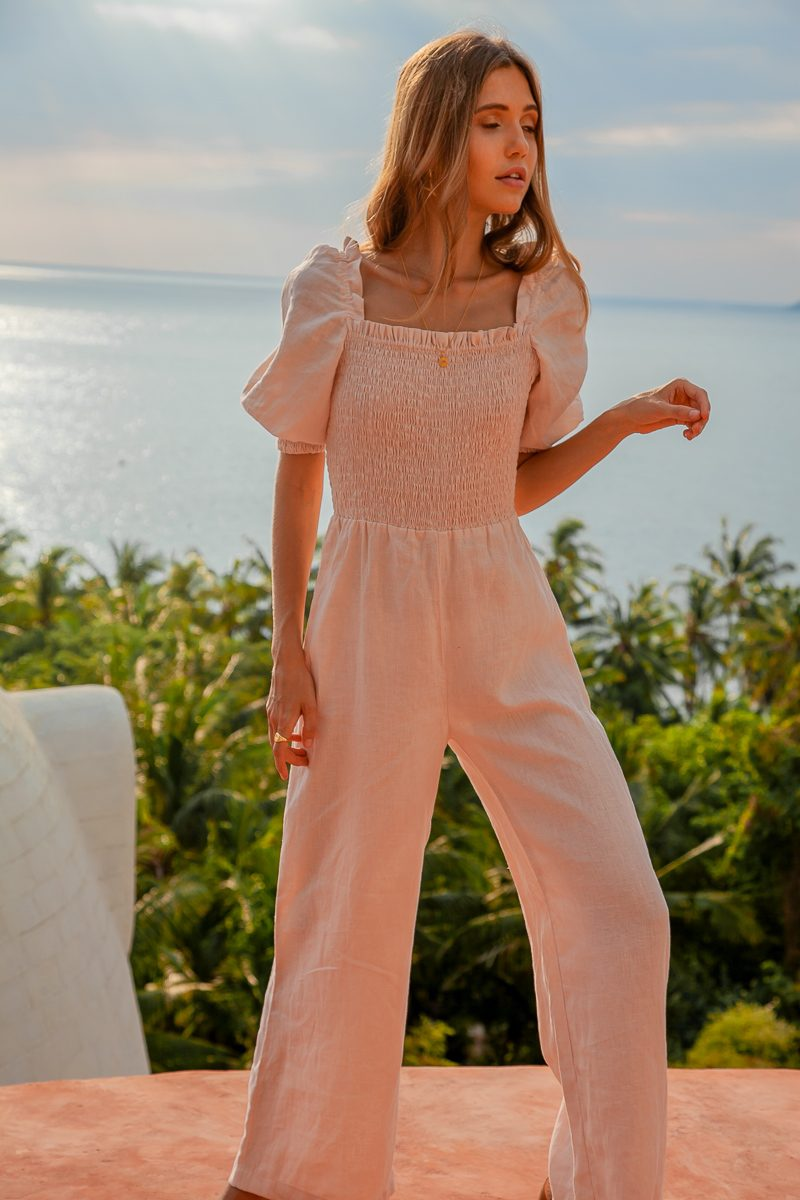 Sustainable linen jumpsuit womens loose fit Zephr Playsuit by Palm Collective Pale Pink 2