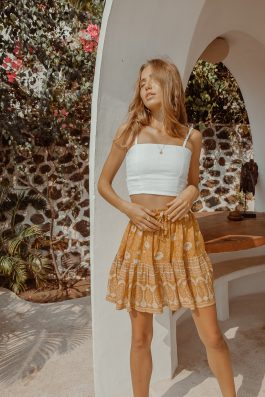 Bohemian Skirt Outfit gypsy short flippy skirt mustard Folk skirt by Palm Collective