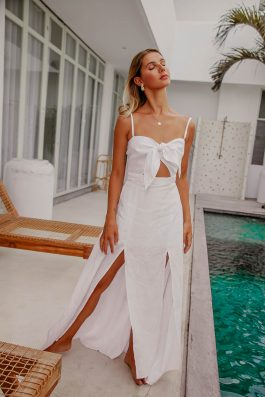 Love Nest Ladies Womens Linen Maxi Dress White by Palm Collective Buy Online