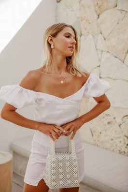 Sienna White Linen Blouse and ladies white linen pants buy online Palm Collective