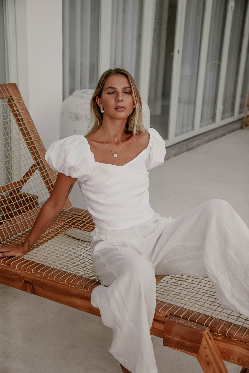Sienna White Linen Blouse and ladies white linen pants buy online Palm Collective Sustainable