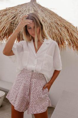 Leopard print linen beach shorts-6
