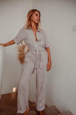 Leopard Print Linen Womens Jumpsuit SAfari Style