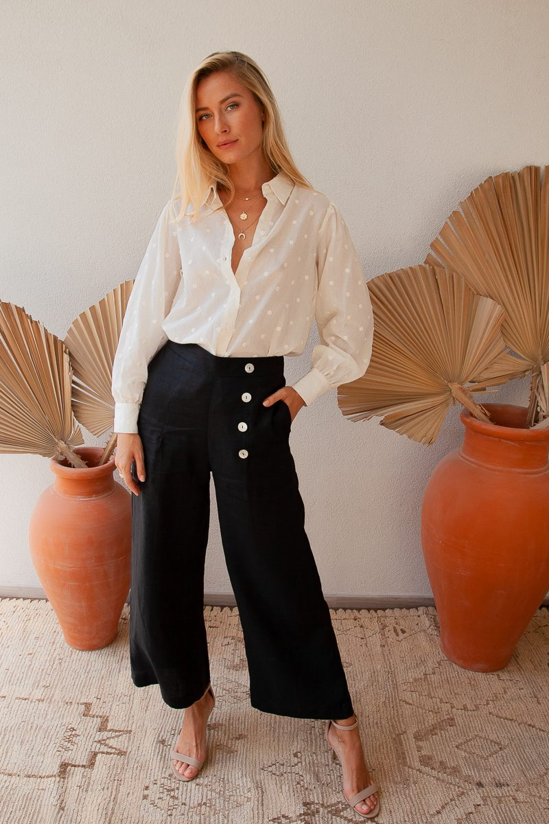 Palm Collective Caiman Linen Wide Leg High waisted linen pant sustainable