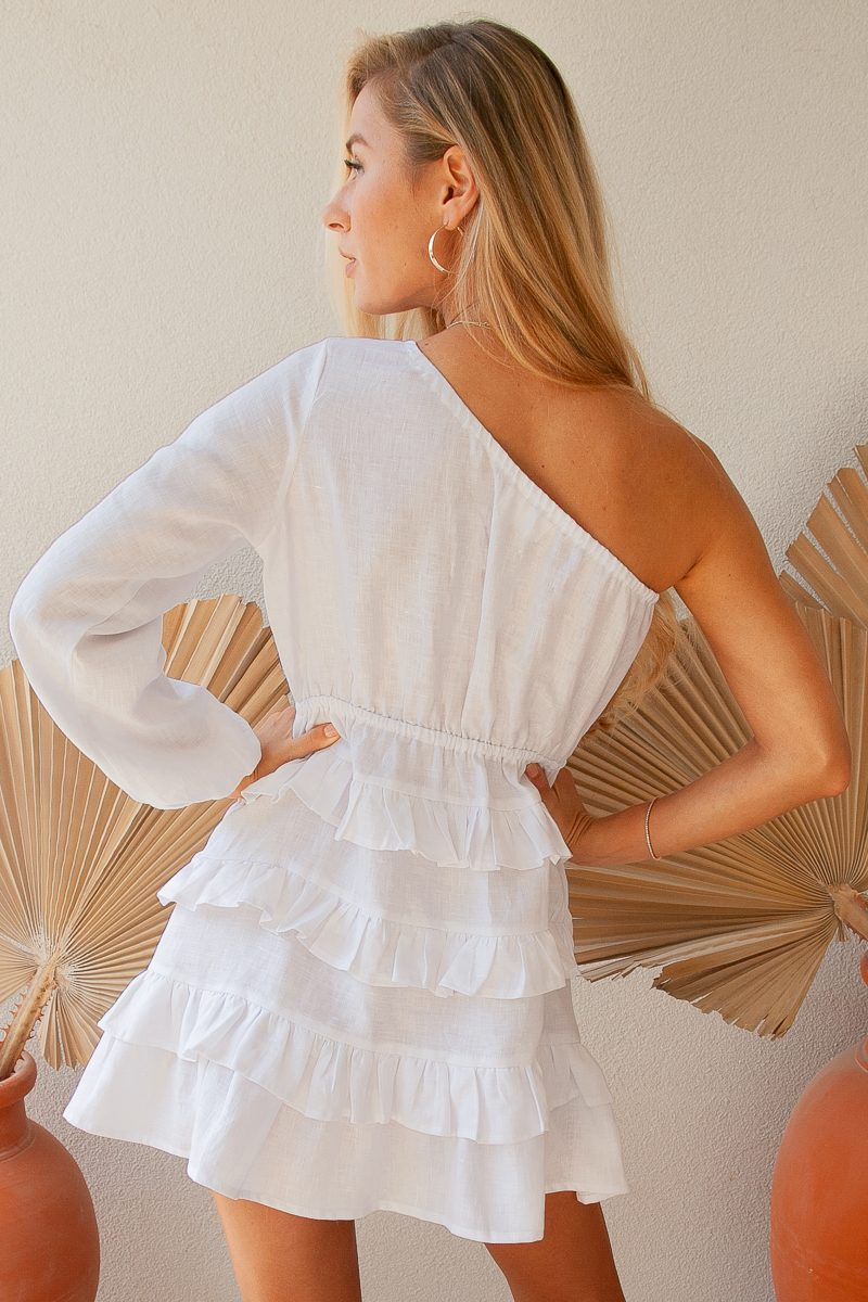 Palm Collective Emily Linen Dress One shoulder White Sustainable Dress