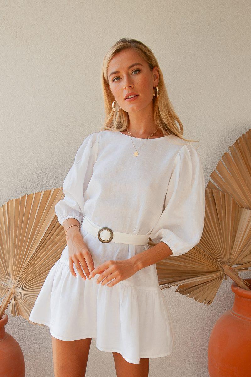 Palm Collective Juliet Linen Dress White