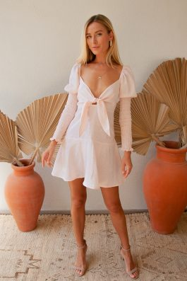 Palm Collective Margot Linen Dress Tie Front Long Sleeve Pale Pink