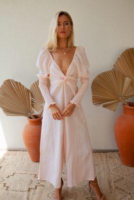 Palm Collective Otis Linen Sustainable Jumpsuit Long Pale Pink