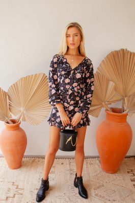 Palm Collective Seville Bohemian Print Black Playsuit Long Sleeve