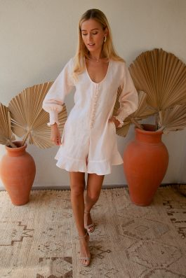 Palm Collective Yaris Linen Sustainable Playsuit Pale Pink