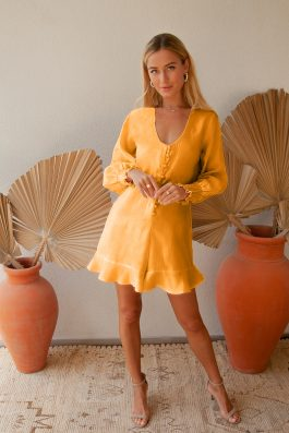 Yaris Linen Sustainable Ethical Fashion Ladies Playsuit Romer Mustard Yellow Palm Collective