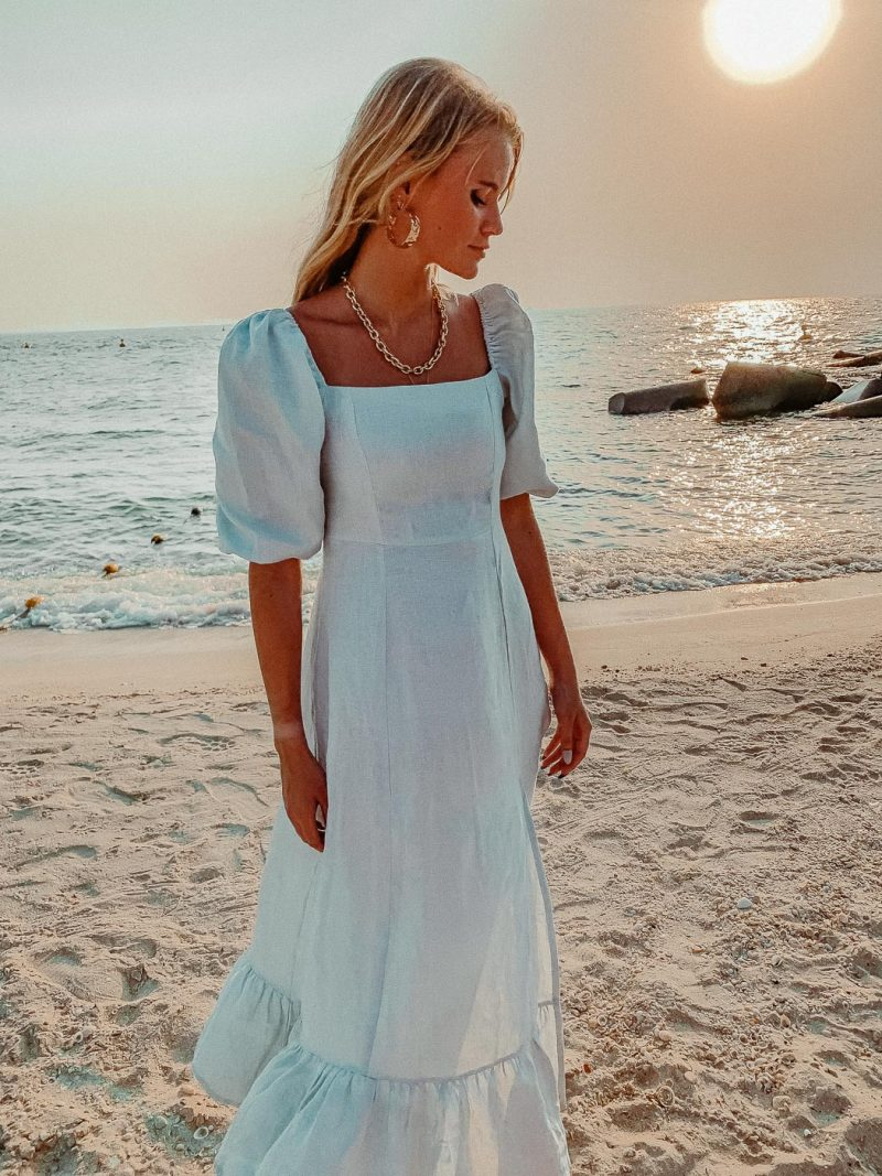 Blue linen dress Monte 7/8 summer dress pale blue by palm collective