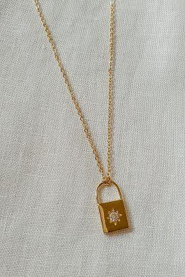 Pad lock mini gold necklace pendant charm with diamond