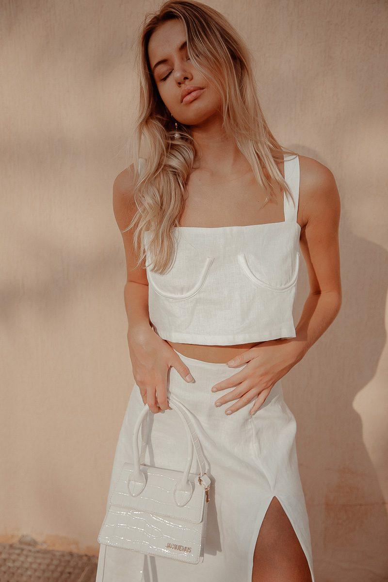 Sidney Bustier Underwire Top Palm Collective Sustainable Lux Linen White Camisole Top Blouse