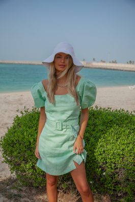 kara linen reformation belted dress with sleeves short length in apple mint green by Palm Collective