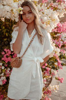 ladies sustainable fashion white linen wrap dress-02