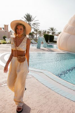 linen high waisted pants and crop top set womens ethical clothing buy online and wholesale poolside pant