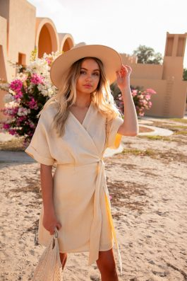 neautral lemon linen wrap dress short with kimono sleeves sustainable fashion palm collective Patina Dress